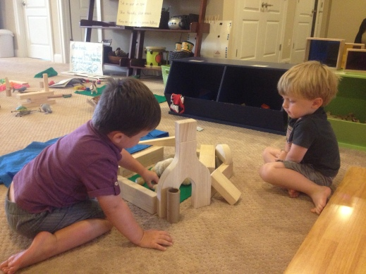 K and L working together with the unit blocks.