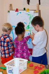 Dot art together on the easel