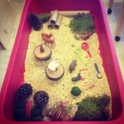 """Forest of Fun"" sensory bin"