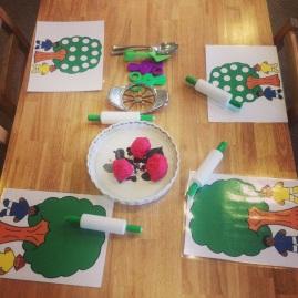 apple pie play dough table