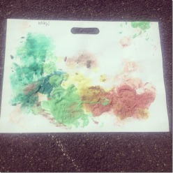 Painting with sand and puffy paint.