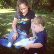 Leaf rubbings outside during our nature walk.