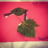 """A Duck"" made out of leaves and seed pods."