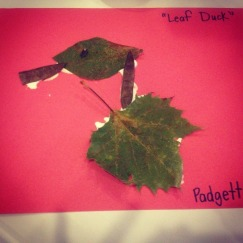 """""""A Duck"""" made out of leaves and seed pods."""