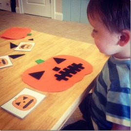 using pattern cards to make pumpkin faces