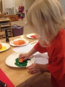 Painting with small pumpkins.