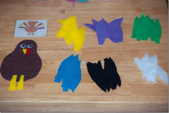 Patterns with felt turkey feathers