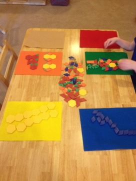 Sorting pattern blocks by color and making designs