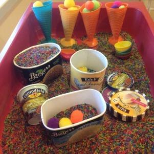 ice cream themed sensory bin