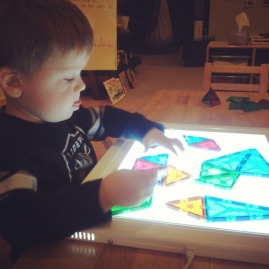 magnatiles on the lightboard