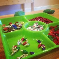 Christmas themed play dough tray
