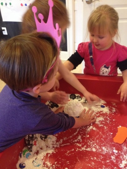 Cornstarch and shaving cream dough