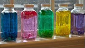 Color sorting art bottles