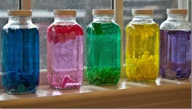 Color sorting art bottles