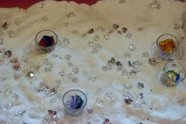 Winter wonder sensory bin with gems and Epsom salt