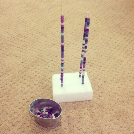 Towers of bead with skewers