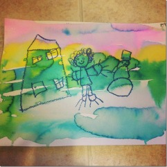 watercolors and oil pastels