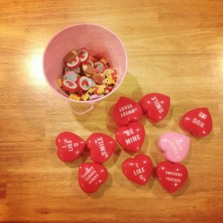 heart erasers and little heart containters, fine motor work