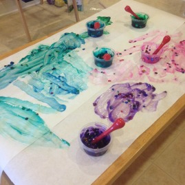 homemade paints with confetti