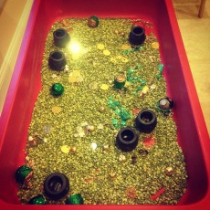 Green split peas and mini pots of gold