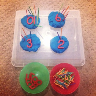 play dough number cakes
