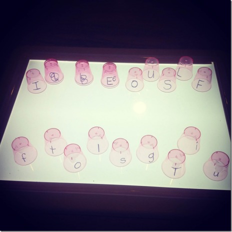 letters on the light table