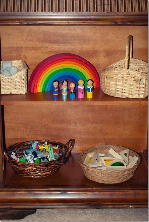 Rainbow blocks, peg people, professional people, block play