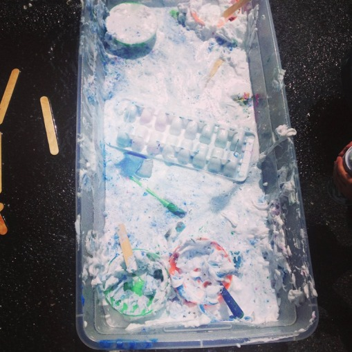 shaving cream and paint ice cubes