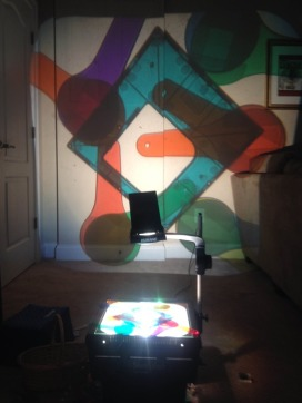 various materials on the overhead projector