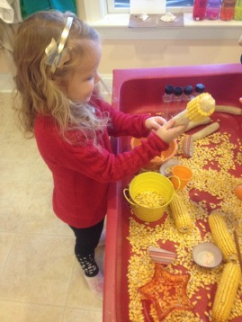 getting the corn off of the cob is hard work for our fingers