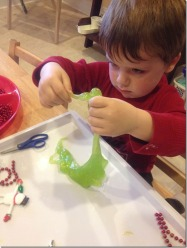 "D playing with green ""Grinchy"" gak"