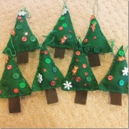 each child sewed their own parent ornaments