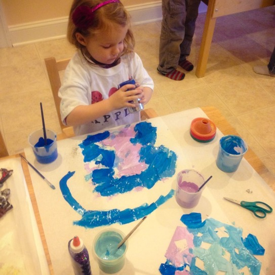 E working on her snowflake