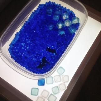 ice cubes, penguins, and water beads