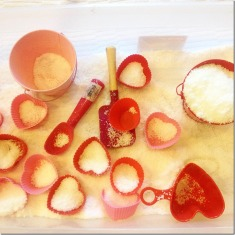 pretend snow with valentine's day scoops