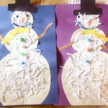 shredded paper snowmen