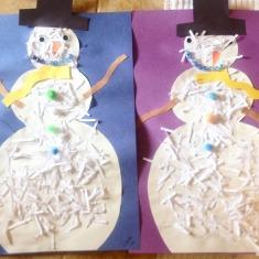 shredded paper snowmen