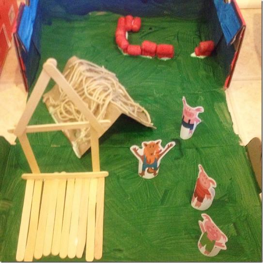 shoe box art, creating the three little pigs village!