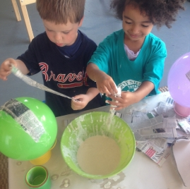 fun and messy paper mache!