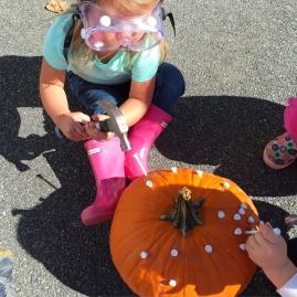 Hammering into pumpkins