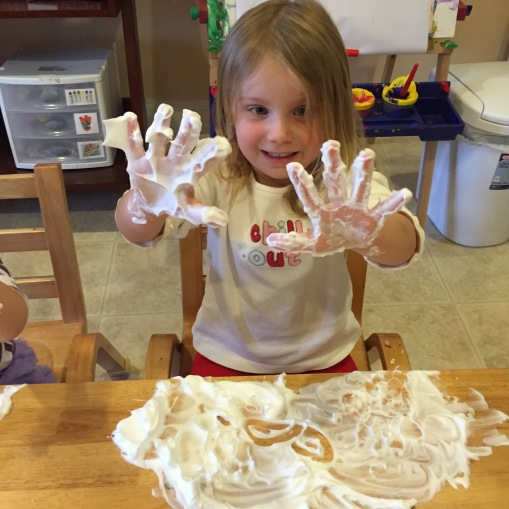 writing our letters in shaving cream