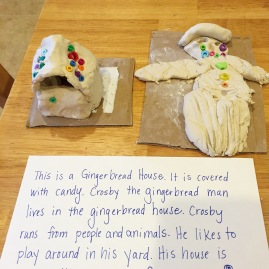 clay gingerbread man and gingerbread house