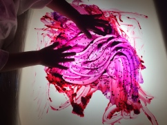 Finger painting on the light panel