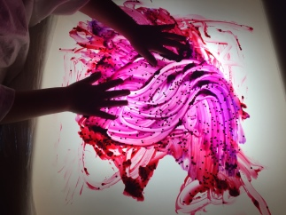Finger painting on the light panel